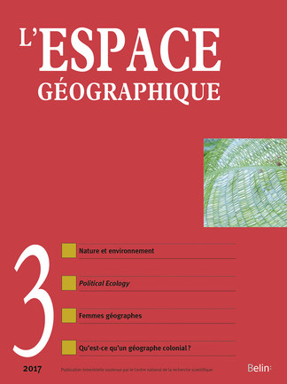 L'Espace géographique 2017-3 - <p><em>Géographie des questions environnementales et </em>political ecology<em>, confrontation et convergence</em></p>  <p><strong>Frédérique BLOT, Ana GONZÁLEZ BESTEIRO. </strong>Contribution de la géographie francophone à la <em>political ecology</em>. Deux études des relations sociétés/eaux souterraines dans l'Espagne semi-aride</p>  <p><em>Francophone geography's contribution to political ecology. Two studies of the relationship <em>between societies and underground water in semi-arid Spain</em></em></p>  <p><em><em><strong>Gabrielle BOULEAU. </strong>La catégorisation politique des eaux sous l'angle de la <em>political <em>ecology </em>: patrimoine piscicole et la pollution en France</em></em></em></p>  <p><em>Questioning the political categorization of water with political ecology: France's freshwater fish <em>heritage and river pollution</em></em></p>  <p><em>Appel à textes</em></p>  <p><strong>Olivier ORAIN. </strong>Nature, environnement et géographie</p>  <p><em>Nature, environment and geography</em></p>  <p><em>Questions vives en histoire de la géographie</em></p>  <p><strong>Nicolas GINSBURGER. </strong>Femmes en géographie au temps des changements. Féminisation et féminisme dans le champ disciplinaire français et international</p>  <p><em>Women in geography in an era of change. Feminisation and feminism in the French and international <em>academic field (1960-1990)</em></em></p>  <p><strong>Florence DEPREST. </strong>Qu'est-ce qu'un géographe colonial ? Jean Brunhes, l'irrigation et la géographie humaine</p>  <p><em>What is a colonial geographer? Jean Brunhes, irrigation and human geography (1894-1911)</em></p>  <p><em>Carnet de terrain</em></p>  <p><strong>Marie REDON. </strong>Chypre du Nord : dans l'espoir de la réunification</p>  <p><em>North Cyprus: In the hope of the reunification</em></p>  <p><em>Lectures</em></p>  <p>Géographie du sport : une géopolitique mondiale (A. Suchet)</p>
