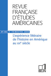 "RFEA N°118 (2008-4) - <SPAN>Agnès Derail-Imbert et Bruno Monfort<BR>Introduction<BR><BR>Agnès Derail-Imbert<BR>Letters from an American Farmer : une Amérique sans histoire<BR><BR>Thomas Constantinesco<BR>Mascarades en terrain neutre: romance et révolution dans The Spy de James Fenimore Cooper<BR><BR>Stephen Sawyer<BR>Between Authorship and Agency: George Bancroft's Democracy as History<BR><BR>Antoine Traisnel<BR>Writing in the Name Of: Hawthorne's Chiefly About War Matters""<BR><BR>Cécile Roudeau<BR>Pour l'amour du neutre : The Tory Lover (Sarah Orne Jewett) ou l'écriture érotique de l'histoire<BR><BR>Michel Imbert<BR>The Education of Henry Adams ou la chronique du chaos<BR><BR>Compte rendu</SPAN>"""