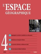 L'Espace Géographique 2011-4 - <p><em>Spécialisations sociales dans les métropoles</em></p>  <p><strong>Lanciné DIOP. </strong>Métropolisation transfrontalière et spécialisation sociale à Luxembourg. La concentration spatiale des actifs métropolitains supérieurs</p>  <p><em>Luxembourg: Cross-border metropolisation and socio-spatial specialization: the spatial concentration of knowledge-intensive workers</em></p>  <p><strong>Thomas PFIRSCH. </strong>La localisation résidentielle des classes supérieures dans une ville d'Europe du Sud. Le cas de Naples</p>  <p><em>The location of upper-class residential areas in Southern European cities: the case of Naples</em></p>  <p><strong>Giovanni FUSCO, Floriane SCARELLAa. </strong>Métropolisation et ségrégation sociospatiale. Les flux de mobilité résidentielle en PACA</p>  <p><em>Metropolisation process and residential segregation. Migration flows in the Provence-Alpes-Côte d'Azur region (France)</em></p>  <p> </p>  <p><em>Vignobles sud-africains</em></p>  <p><strong>Éric ROUVELLAC, Julien DELLIER, Sylvain GUYOT. </strong>Entre terroir et territoire. La renaissance du vignoble sud africain</p>  <p><em>Between terroir and territory, the rebirth of the South African vineyard</em></p>  <p><br /> <em>Formes de la ville</em></p>  <p><strong>Aurélien DELPIROU. </strong>La « thérapie du chemin de fer » à Rome : les impasses de l'articulation entre urbanisme et transport</p>  <p><em>The cura del ferro in Rome (the rail solution): difficulties articulating urban planning and transport</em></p>  <p><strong>Anaël LEJEUNE. </strong>Un « Tour des monuments de Passaic » (1967), l'image de la cité selon Robert Smithson</p>  <p><em>A ''Tour of the Monuments of Passaic'' (1967), the image of the city according to Robert Smithson</em></p>  <p><br /> <em>Table des auteurs et index des matières pour l'année 2011</em></p>