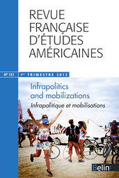 RFEA N°131 (2012-1) - <p><strong>Dossier</strong> Infrapolitics and Mobilizations</p>  <p><em>Infrapolitique et mobilisations</em></p>  <p><br /> <strong>Guillaume Marche</strong><br /> Why Infrapolitics Matters<br /> <br /> <strong>Part I: Mobilizing Beneath the Radar? Discussing the Contours of Infrapolitics</strong><br /> <br /> <strong>Luis Alvarez</strong><br /> On Race, Riots, and Infrapolitics in Wartime Los Angeles<br /> <br /> <strong>Sandrine Baudry</strong><br /> Reclaiming Urban Space as Resistance: The Infrapolitics of Gardening<br /> <br /> <strong>Aline Macke</strong><br /> Politics and Islam in the United States: The Taqwacore Approach<br /> <br /> <strong>Part II: Discreet or Discredited Mobilizations? Infrapolitical Means to Political Ends</strong><br /> <br /> <strong>Jean-Baptiste Velut</strong><br /> Infrapolitics and Consumer Action: Student Anti-Sweatshop Mobilization as Cultural Advocacy<br /> <br /> <strong>Guillaume Marche</strong><br /> Expressivism and Resistance: Graffiti as an Infrapolitical Form of Protest against the War on Terror<br /> <br /> <strong>Benjamin Shepard</strong><br /> Play, Church Ladies and the Struggle for Reproductive Autonomy: An Interview with Benjamin Shepard (25 October 2011)<br /> <br /> <strong>Afterword</strong><br /> Infrapolitics and Mobilizations: A Response by James C. Scott<br /> <br /> <strong>Color Folio Notes</strong><br /> <br /> <strong>Comptes Rendus</strong></p>  <p> </p>  <p> </p>  <p> </p>