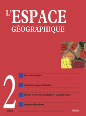 "L'Espace géographique 2015-2 - <p><em>Eau, terre et territoire</em></p>  <p><strong>Julie TROTTIER. </strong>Les rajectoires de l'eau et de la terre dans la construction des territoires</p>  <p><em>Water and land trajectories in the construction of territories</em></p>  <p><strong>Julie TROTTIER. </strong>Le rapport à l'eau et à la terre dans la construction des territoires multisitués : le cas palestinien</p>  <p><em>Water and land tenure in the construction of multi-sited territories: The Palestinian case</em></p>  <p><strong>Sara FERNANDEZ, María Jesús BELTR<span style=""font-family:""Calibri"",""sans-serif""; font-size:11pt"">ÁN</span> MU<span style=""font-family:""Calibri"",""sans-serif""; font-size:11pt"">ÑOZ</span>. </strong>Du riz dans les marismas du Guadalquivir : une note salée ?</p>  <p><em>Rice in the Guadalquivir marismas: Worth its salt?</em></p>  <p><strong>Gaële ROUILL<span style=""font-family:""Calibri"",""sans-serif""; font-size:11pt"">É</span>, David BLANCHON, Bernard CALAS, Élise TEMPLE-BOYER. </strong>Environnement, écologisation du politique et territorialisations : les nouvelles politiques de l'eau (gire et pse) au Kenya</p>  <p><em>Environment, ecologisation of politics, and territorialisations: New water policies (Gire and Pes) in Kenya</em></p>  <p><strong>Lauriane GAY, Charlotte TORRETTI. </strong>Territorialisation des marais d'Olweny en Ouganda : luttes de pouvoir, politiques agricoles et environnementales</p>  <p><em>The territorialization of Uganda's Olweny swamps: Power struggles, agricultural and environmental policies</em></p>  <p><strong>Marie-Amélie CANDAU, Romain VALADAUD, Olivia AUBRIOT</strong>. Construction de la plaine rizicole du Népal sous le prisme de la gestion de l'eau et des processus de territorialisation dans le Sunsari</p>  <p><em>The creation of Nepal's rice-growing plain: Water management and territorialization processes in the Sunsari district</em></p>  <p><br /> <em>Territoires de l'entre-deux</em></p>  <p><strong>Goran SEKULOVSKI. </strong>Les uniates des Balkans, réflexions géographiques sur une figure religieuse de l'« entre-deux » en République de Macédoine</p>  <p><em>Uniates in the Balkans - geographical considerations on religion of the ''lands between'' in the Republic of Macedonia</em></p>  <p><br /> <em>Lectures</em></p>  <p>Vous avez dit « naturel » ? (A. Berque) ;</p>  <p>Métropoles aux Suds, le défi des périphéries (J.-P. Deler) ;</p>  <p>Sécurité et insécurité urbaines (M. Morelle)</p>"